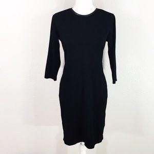 Ralph Lauren black faux leather trim dress